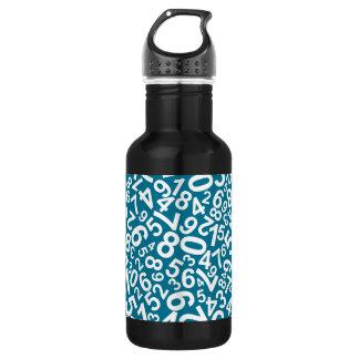 Random Numbers Pattern Stainless Steel Water Bottle