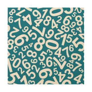 Random Numbers Pattern Wood Wall Art