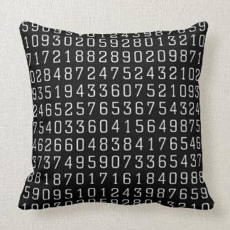 Random Numbers - White on Black Throw Pillow