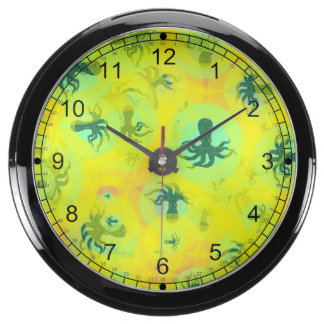 Random octopuses fish tank clock