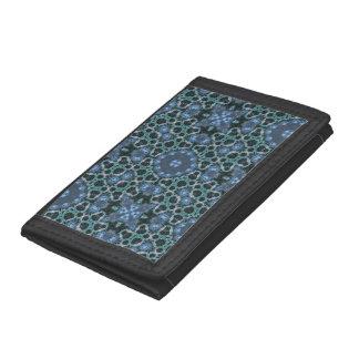random pattern blue tri-fold wallets