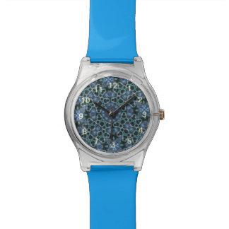 random pattern blue wrist watch