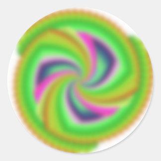 Random, pretty, colourful, fuzzy windmill splurge! round sticker