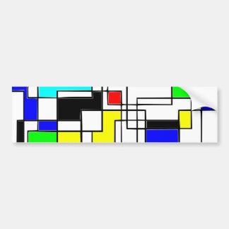 Random Squares Homage To Mondrian Bumper Sticker