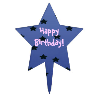 random star blue birthday cake topper
