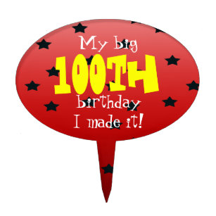 Random Star Red 100th Birthday Cake Topper