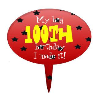 random star red 100th birthday cake topper