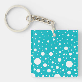 Random White Dots on Turquoise Background Keychain