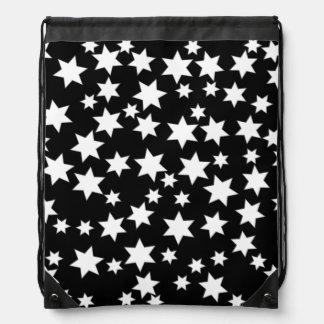 Random White Stars on Black Drawstring Bag
