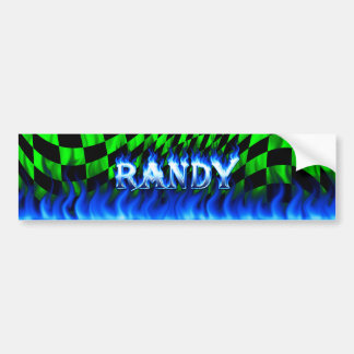 Randy blue fire and flames bumper sticker design.