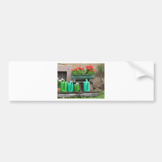 Range of plastic watering cans car bumper sticker