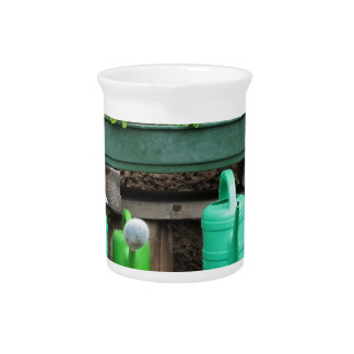 Range of plastic watering cans pitcher