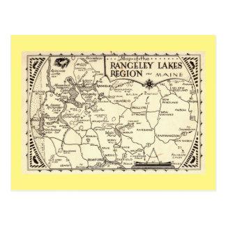 Rangeley Lakes Map, Maine Vintage Postcard