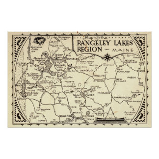 Rangeley Lakes Map Maine Vintage Poster