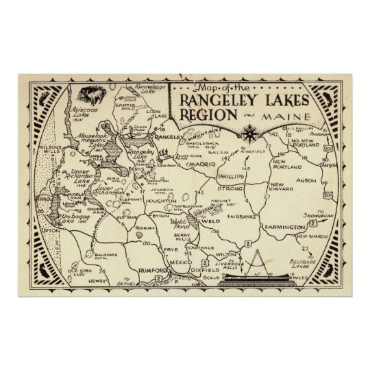 Rangeley Lakes Map Maine Vintage Poster Zazzlecom - Maine lakes map