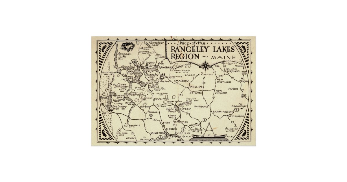 Rangeley Lakes Map Maine Vintage Poster Zazzle Com