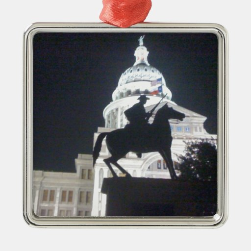 Ranger in front of TX Capitol.jpg Square Metal Christmas Ornament