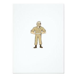 Ranger Standing Attention Cartoon Card