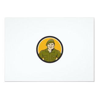 Ranger Standing Attention Circle Cartoon Card