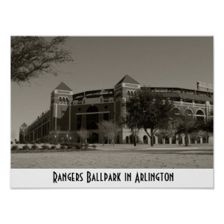"""Rangers Ballpark in Arlington"" Sepia Poster"