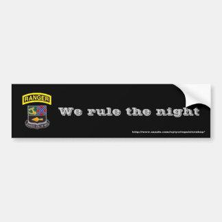 Rangers, We rule the night Car Bumper Sticker