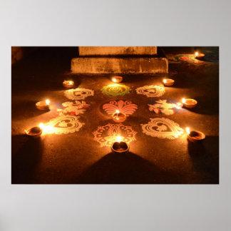 Rangoli con las velas en Diwali Póster