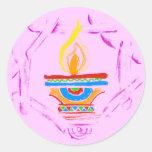 Rangoli Deepak Etiquetas Redondas