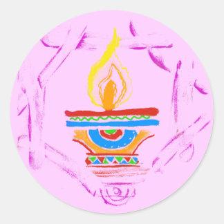 Rangoli Deepak Pegatina Redonda
