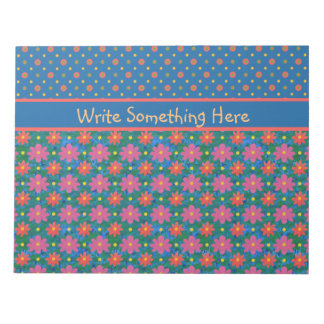 Rangoli Flowers and Polkas, Blue Notepad or Jotter