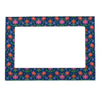 Rangoli Flowers Polka Dots Blue Magnetic Frame