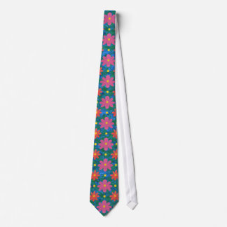 Rangoli Flowers, Polka Dots on Blue Unisex Necktie