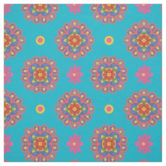 Rangoli Flowers, Polka Dots on Turquoiose Fabric