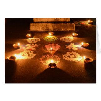 Rangoli y velas tarjeta de felicitación