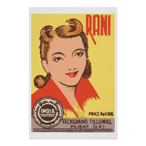 RANI (Indian vintage matchbox cover) Print
