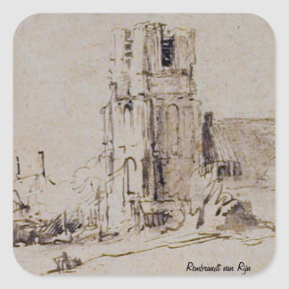 Ransdorp. Drawing by Rembrandt van Rijn. Square Sticker