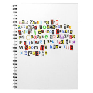 Ransom Note Serenity Prayer Notebook