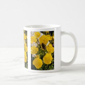 Ranúnculos y cabeza de la hierba tazas de café