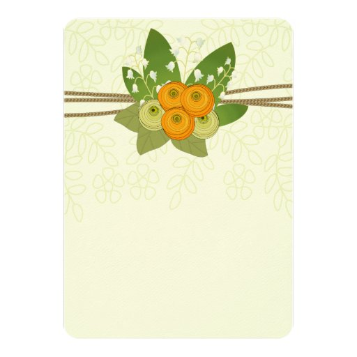 Ranunculus  and Lily of the Valley bouquet 5x7 Paper Invitation Card