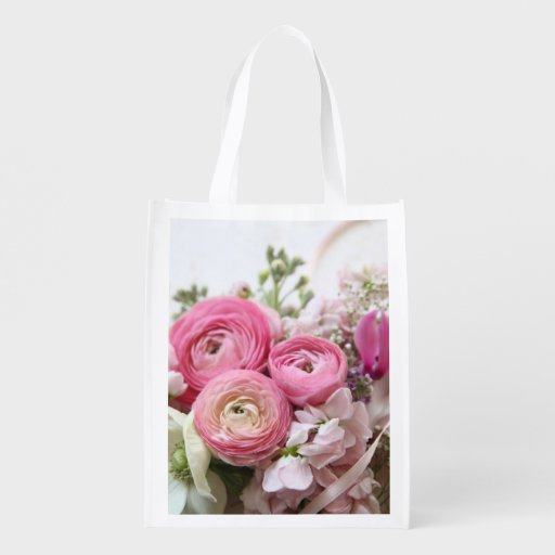 Ranunculus, other spring flowers market tote