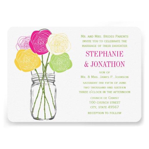 Ranunculus Rose Lime Fuchsia Yellow Mason Jar Personalized Invitations