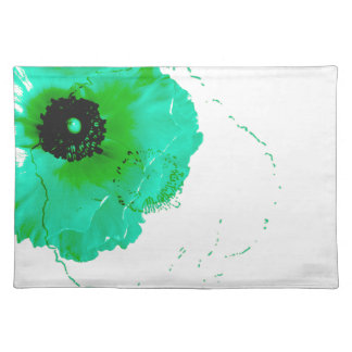 ranunculus, vibrant turquoise and white placemats
