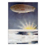 Raold Amundsen's airship Norge over North Pole Card