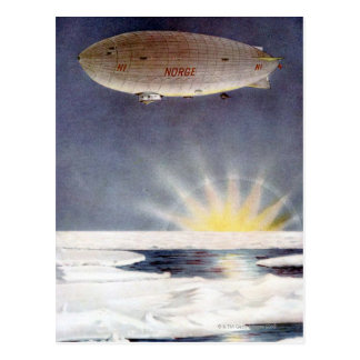 Raold Amundsen's airship Norge over North Pole Postcard