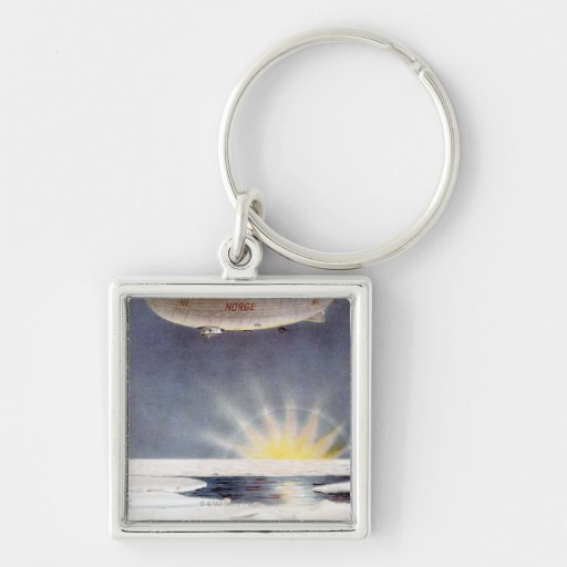 Raold Amundsen's airship Norge over North Pole Silver-Colored Square Keychain