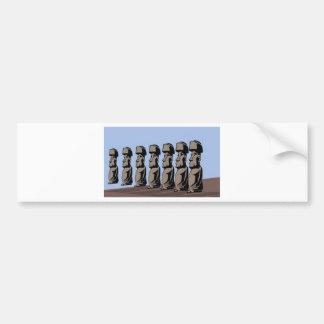 Rapa nui island statues bumper sticker
