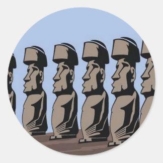 Rapa nui island statues classic round sticker
