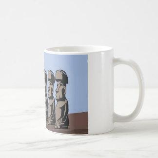 Rapa nui island statues coffee mug