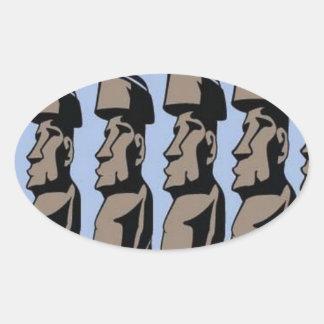 Rapa nui island statues oval sticker