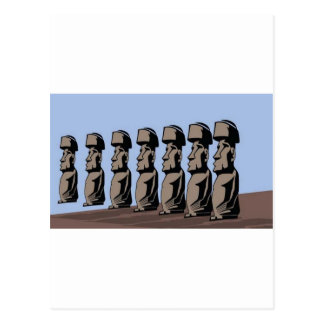 Rapa nui island statues postcard