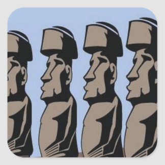 Rapa nui island statues square sticker